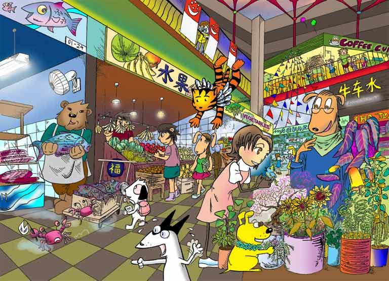 Market scene images for drawing for Tp fish market