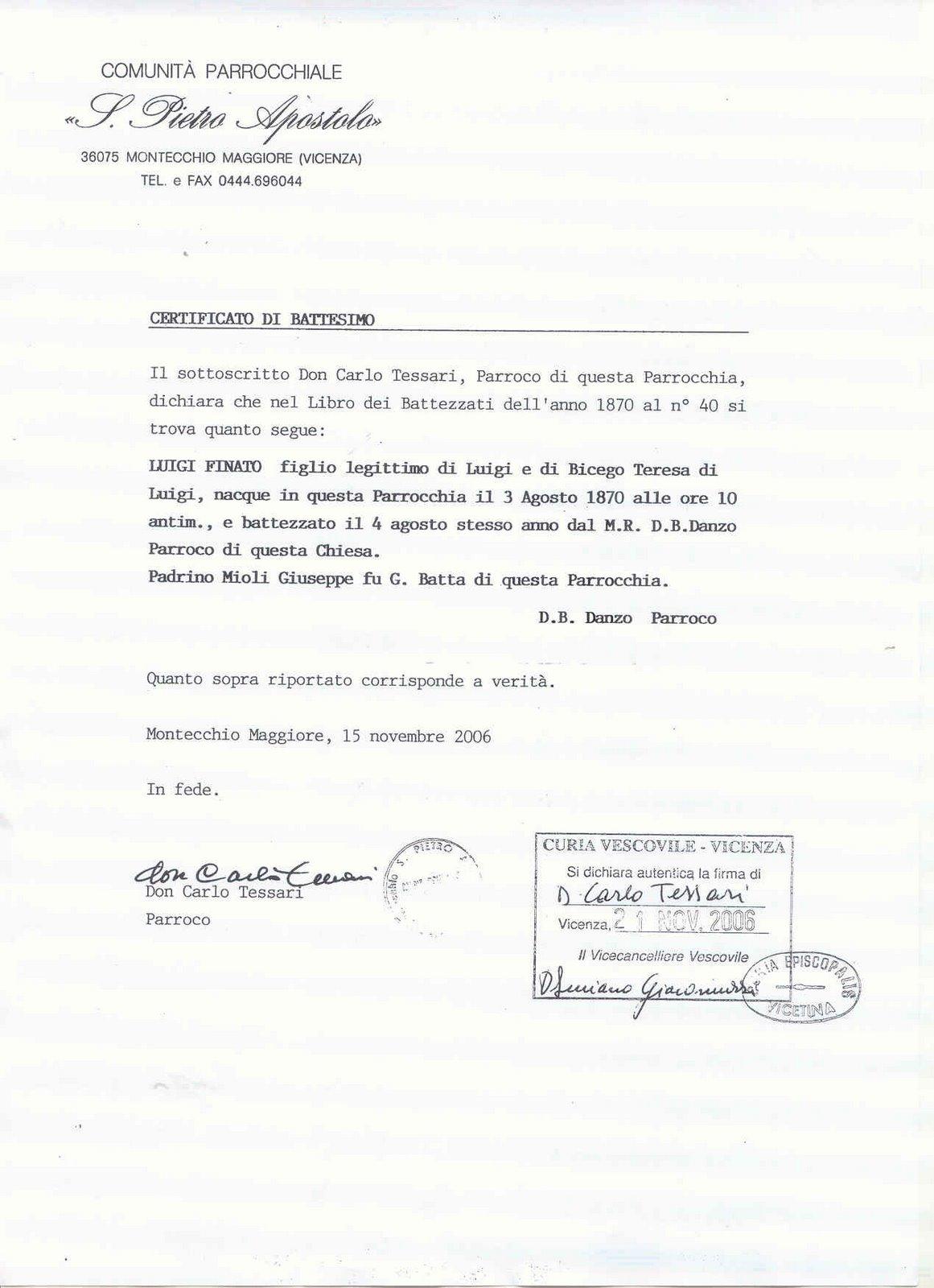 CERTIDÃO DE BATISMO DE LUIGI FINATO