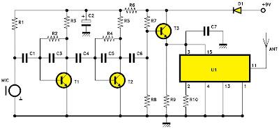 Schéma électrique de l'émetteur du micro-espion
