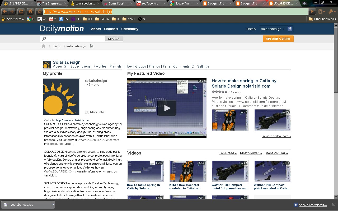 SOLARIS DESIGN Now has a video channel at DAILYMOTION http ... Dailymotion