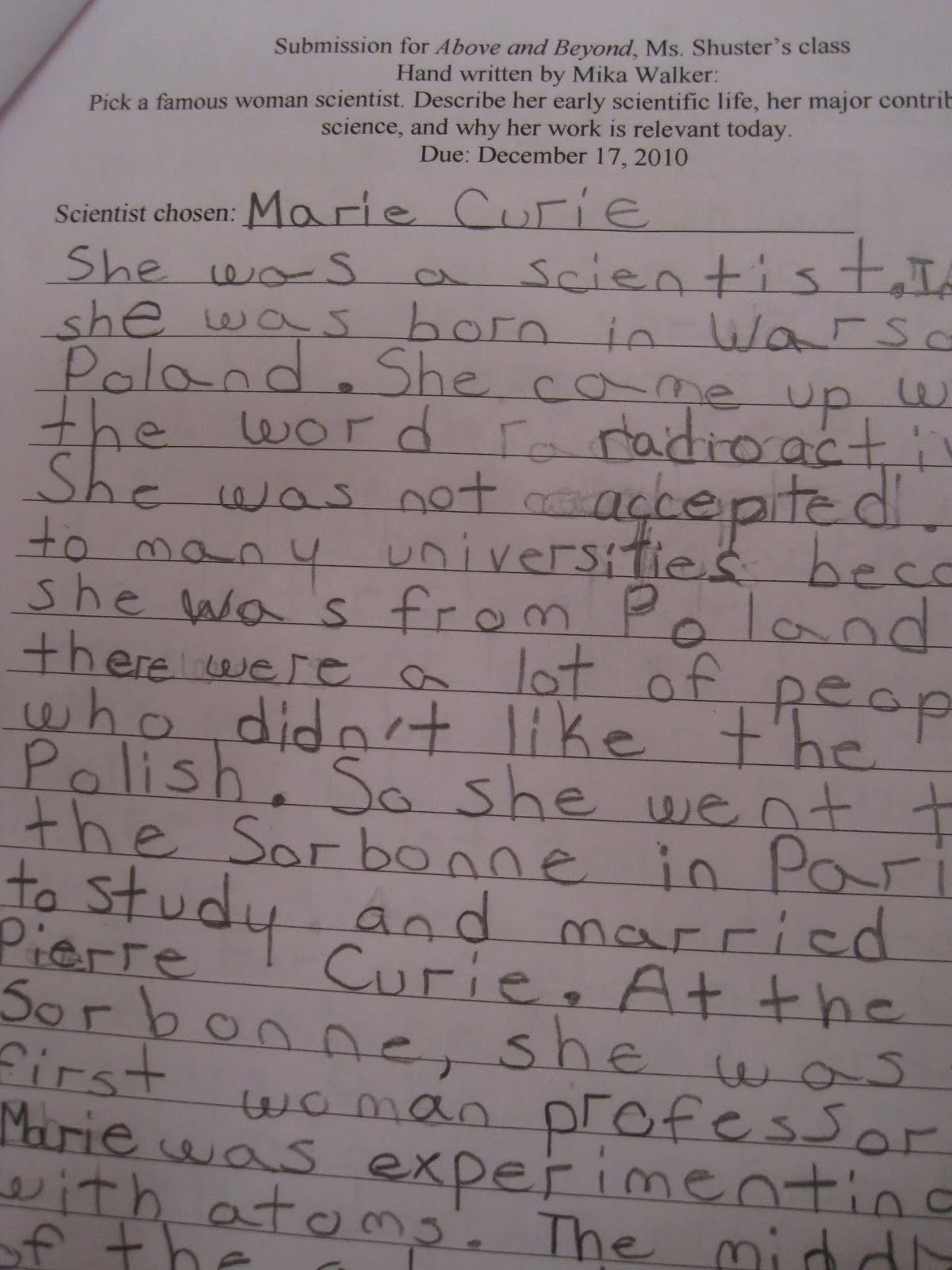 essay on madame marie curie