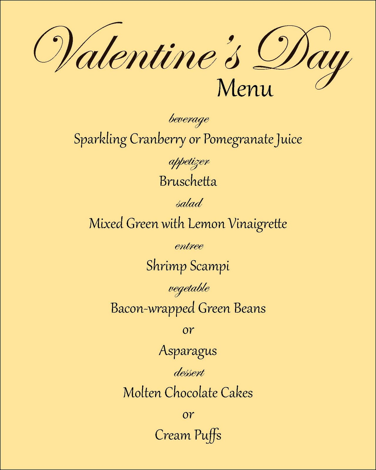 Everyday Art Valentine S Day Menu