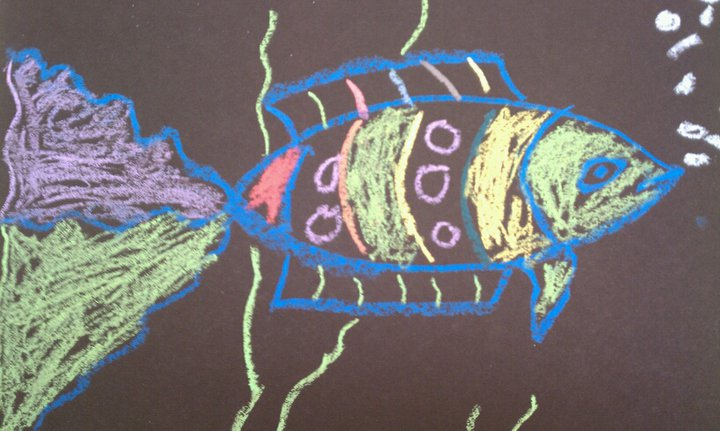 how to draw fish with pastels