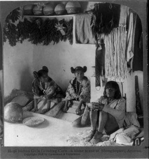 Hopi Women Grinding Corn in Arizona