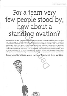 Duke alum Bob Pascal's black-and-white lacrosse ad