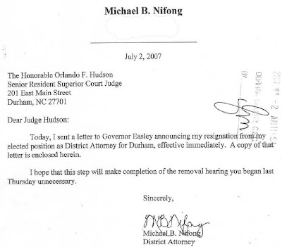 Nifong letter to Judge Hudson, July 2, 2007