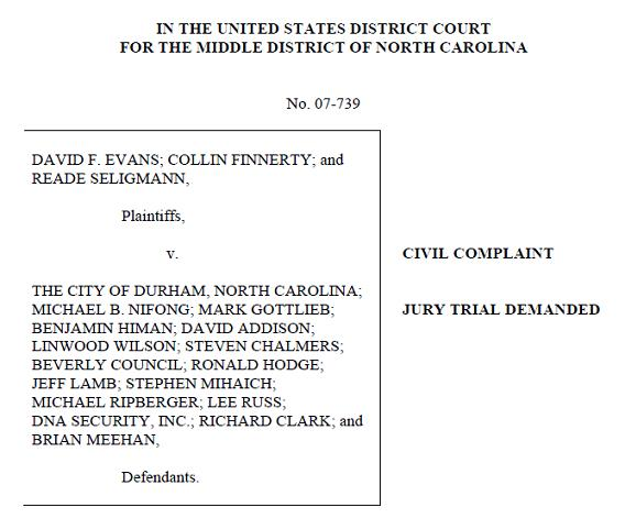 Evans, Finnerty, and Seligmann v. Durham - lacrosse players $30 million lawsuit