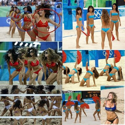 photos of cheerleaders at beach volleyball in Beijing