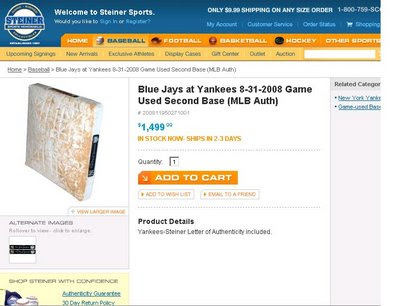 Game Used New York Yankees base only $1499