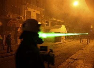 Greek rioters use laser pointers in their clashes with cops