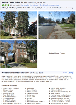 For Sale: 5 BR Detroit Manse, $8995