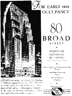 Wall Street Journal Advertisement from 1930's for 80 Broad St., NY, NY