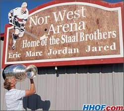 Jordan and the Stanley Cup sharing a moment outside the Nor West Arena where he and his brothers played minor hockey.