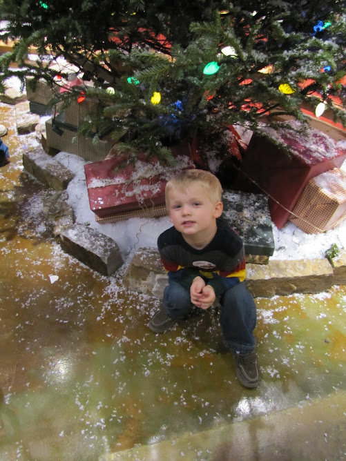 Kaden poses by the Christmas Tree