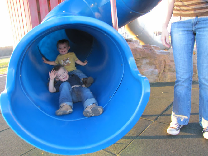 Kaden and Noah in the Slide