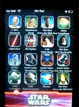 Star Wars Sound Board application on iphone