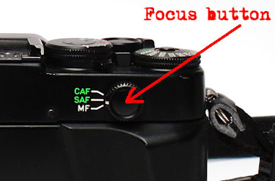 Contax G2 focusing button. Photograph by Tim Irving
