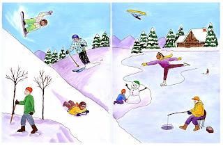 Illustration of winter activities