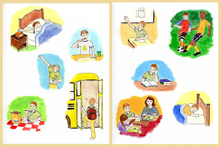 Illustration of daily activities for French workbooks