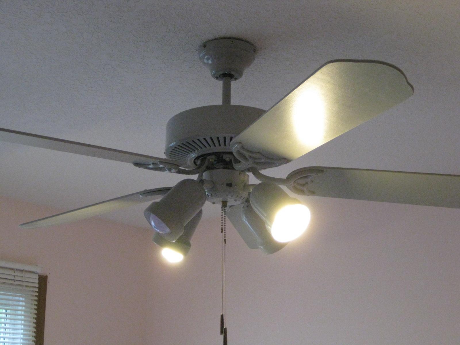 Henrietta 39 s house building more character with lighting for Bedroom ceiling fans