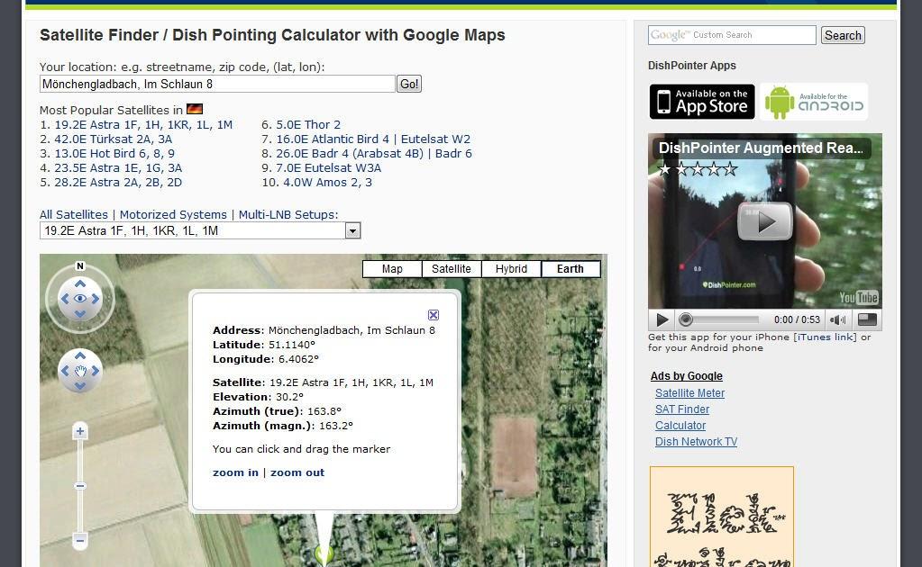 landkartenblog dishpointer hilft ihre satellitensch ssel. Black Bedroom Furniture Sets. Home Design Ideas