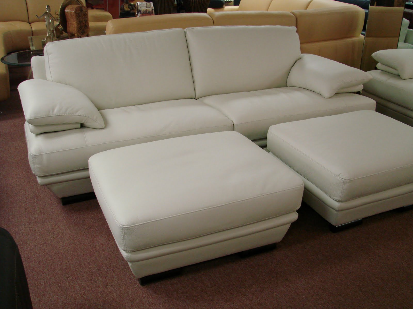 Image Result For White Leather Sectional With Ottoman