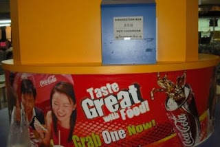 Suggestion Box in Singapore food court Coke 