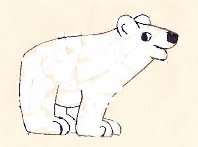 Ours blanc papier déchiré