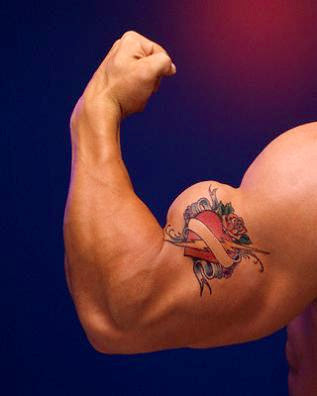 TATTOOS FOR MEN: Heart Tattoo Design on Biceps
