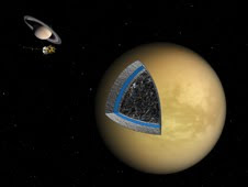 artist's illustration shows the likely interior structure of Saturn's moon Titan