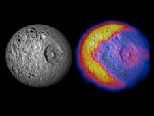 This figure illustrates the unexpected and bizarre pattern of daytime temperatures found on Saturn's small inner moon Mimas