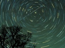 Star trails and a Geminids meteor over Georgia in 1985