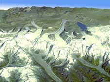 Massive rivers of ice spill off the sides of mountains and grind through creviced valleys in the Himalayas.