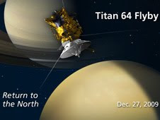 Artist concept of NASA's Cassini spacecraft flying by the north polar region of Saturn's moon Titan