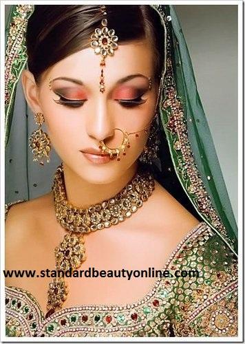 Indian Bridal Dress Light Green with Light Makeup hindu wedding dresses