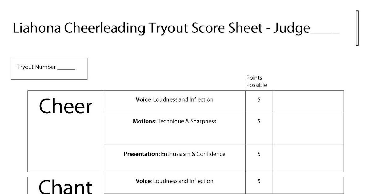 Liahona Cheerleading Tryout Judging Sheet