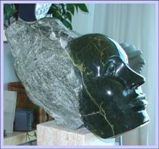 Michele: Jade Serpentine on Travertine Marble base