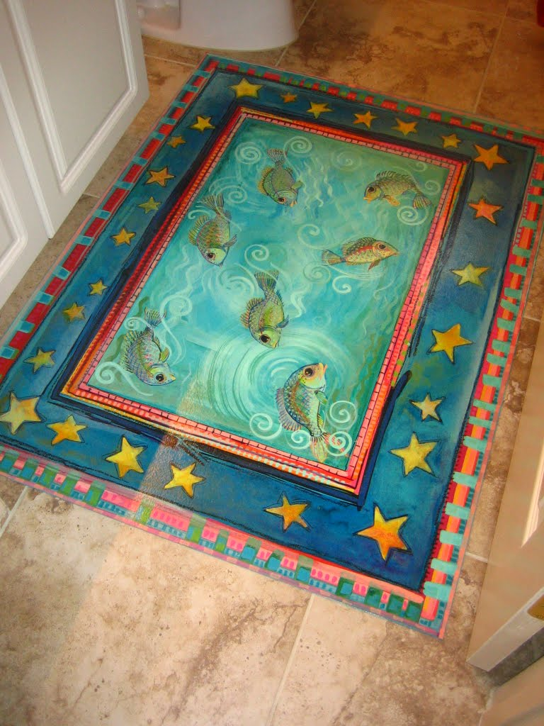 Painting it little fishes floorcloth installed for How to paint a floor cloth
