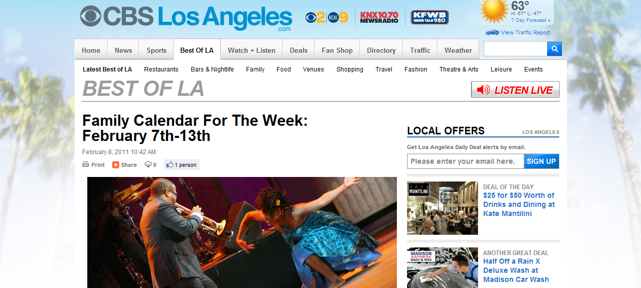 Weekly Calendar Los Angeles : L a story cbslosangeles weekly picks for families