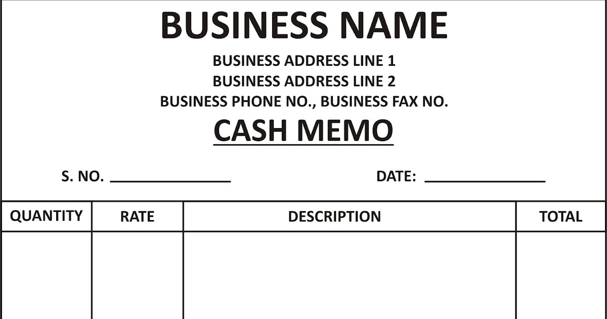 General Knowledge Library Cash Memo Template