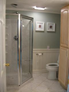 Custom Tiled Bathroom Crown Molding And Wainscoat Merrimac Home Interiors
