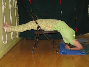 Virparita Dandasana on a chair-Inverted Staff Pose