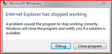 internet explorer has stopped working. windows will close the program and notify you if a solution is available.
