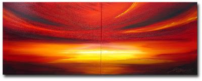 Majestic Sunset - crimson painting