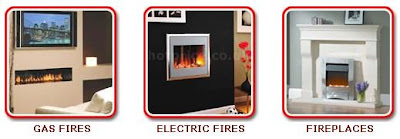 gas fires, electric fires, fireplaces