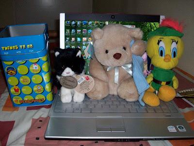 stuffed toys, kitty, teddy bear, tweety bird, Dell XPS M1330 laptop, bear hugs