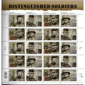 2000 DISTINGUISHED SOLDIERS #3396a Pane of 20 x 33 cents US Postage Stamps