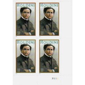 2002 HARRY HOUDINI ~ MAGICIAN #3651 Plate Block of 4 x 37 cents US Postage Stamps