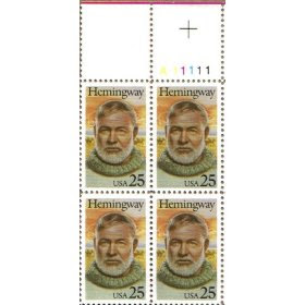 1989 ERNEST HEMINGWAY #2418 Plate Block of 4 x 25 cents US Postage Stamps