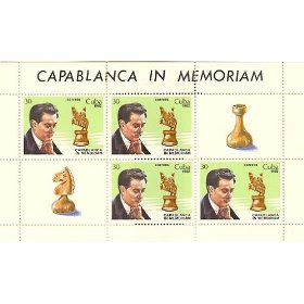Chess Stamps from Cuba Scott # 2560 - 3 Set of Four Souvenir Mini-Sheets Jose Raul Capablanca Issued 1982 MNH